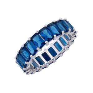 Baguette Eternity Ring Sapphire Blue / 6 - Adina's Jewels