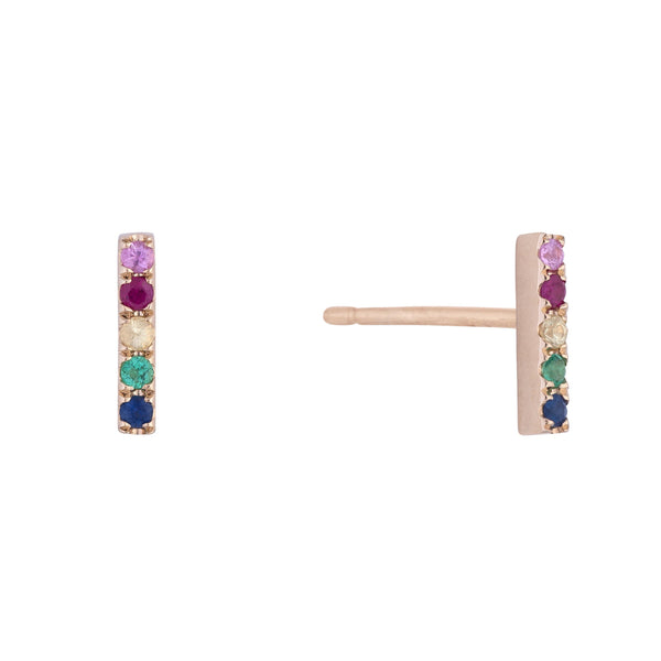 Rainbow Diamond Mini Bar Stud Earring 14K