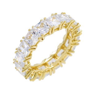 Gold / 8 Princess Cut Eternity Band - Adina's Jewels