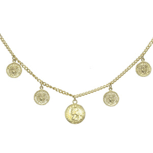 Gold Five Coin Choker - Adina's Jewels