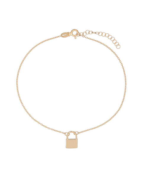 Gold Lock Anklet - Adina's Jewels