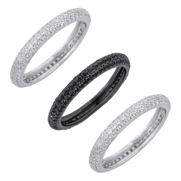 Multi-Color / 5 Trio Black / Silver Rings - Adina's Jewels