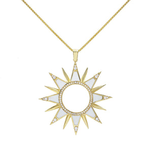 Enamel Sun Necklace Crystal White - Adina's Jewels