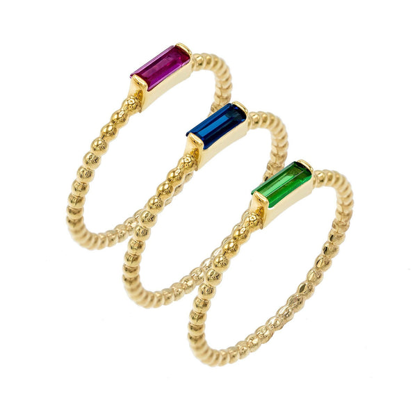 Multi-Color / 7 Rope / Baguette Ring Set - Adina's Jewels