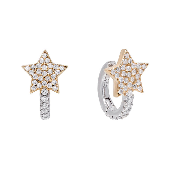 Rose Gold Two-Tone Star Huggie Earring - Adina's Jewels