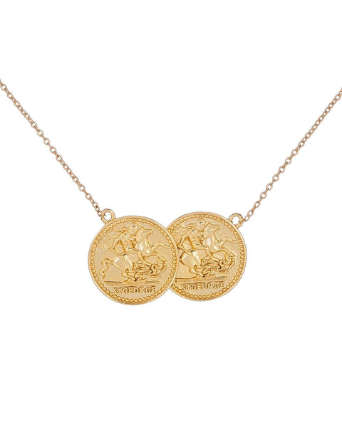 Gold Double Coin Necklace - Adina's Jewels