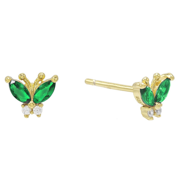 Emerald Green Mini Butterfly Stud Earring - Adina's Jewels