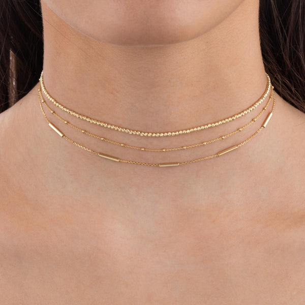 Thin Bars Necklace 14K  - Adina's Jewels