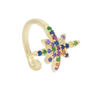 Multi-Color Long Starburst Ear Cuff - Adina's Jewels