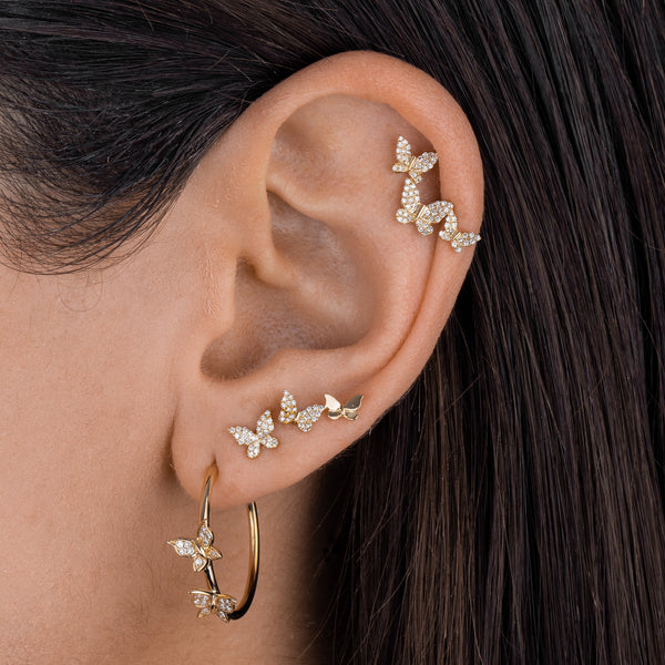 Diamond X Solid Butterfly Stud Earring 14K  - Adina's Jewels