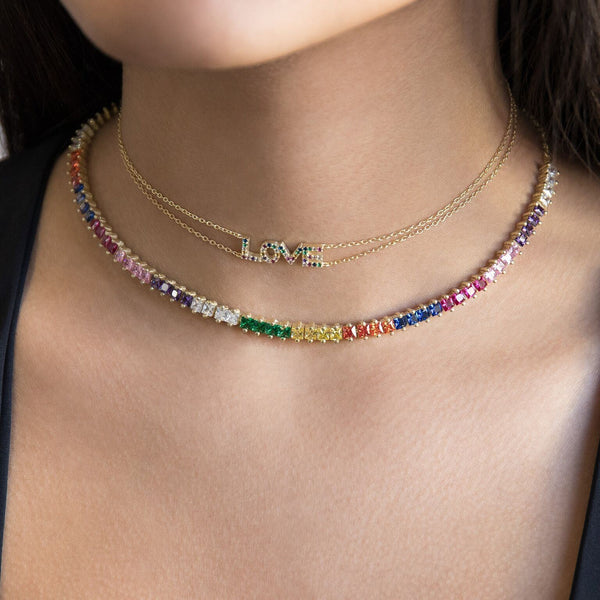 Colored Baguette Choker - Adina's Jewels