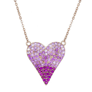 Magenta Heart Necklace - Adina's Jewels