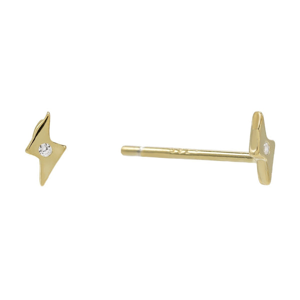 Gold Mini Lightning Studs Earring - Adina's Jewels