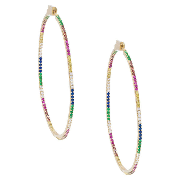 Multi-Color XL Pave Hoops - Adina's Jewels