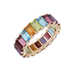 Rainbow Eternity Ring 14K 14K Gold / 6 - Adina's Jewels
