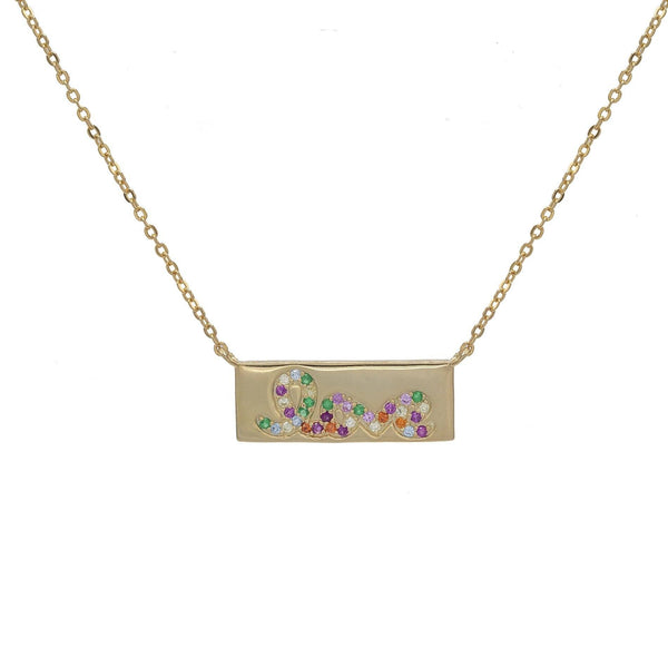Multi-Color Love Bar Necklace - Adina's Jewels