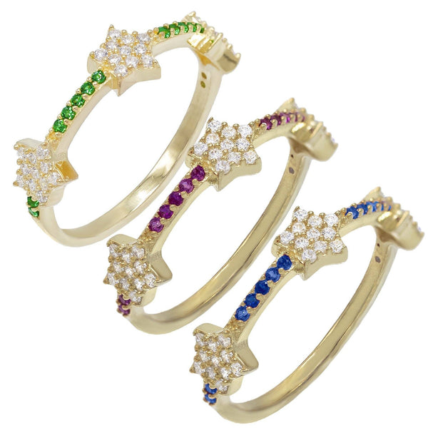 Multi-Color / 5 Trio Stars Rings - Adina's Jewels