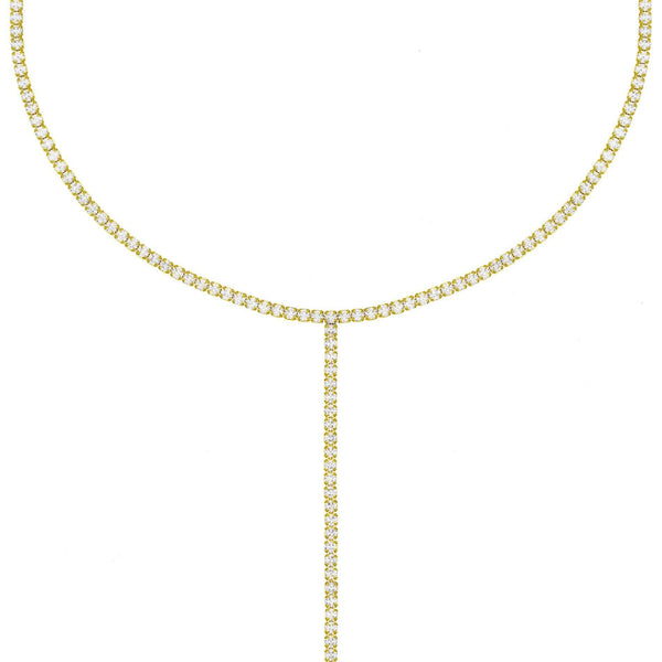 Gold Tennis Lariat - Adina's Jewels