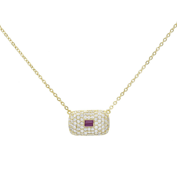 Magenta Rectangle Stone Necklace - Adina's Jewels