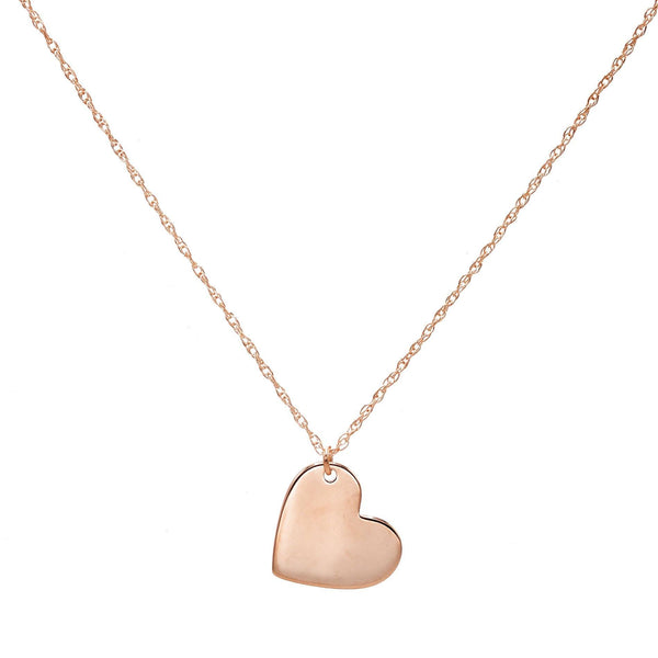 14K Rose Gold / Engraved Engraved Heart Slant Necklace 14K - Adina's Jewels