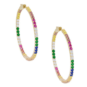 Tennis Hoops Multi-Color - Adina's Jewels