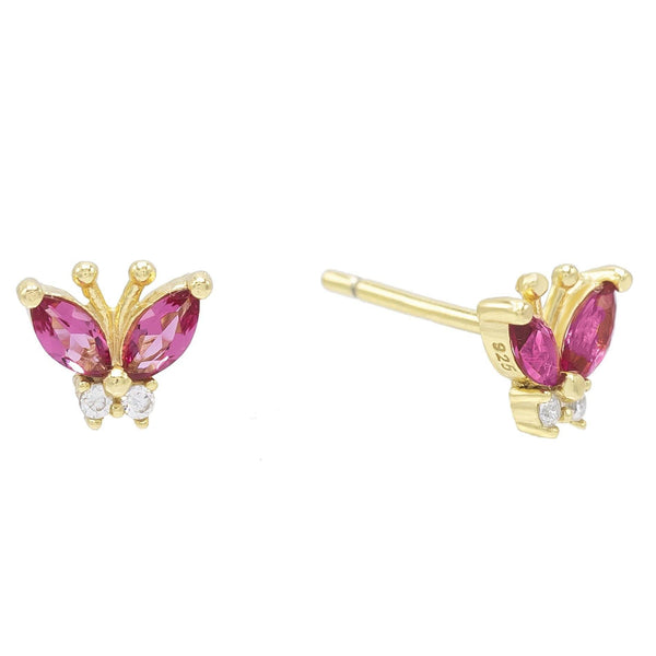 Magenta Mini Butterfly Stud Earring - Adina's Jewels