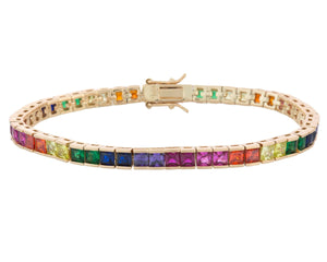 Multi-Color Colorful Tennis Bracelet- Square - Adina's Jewels