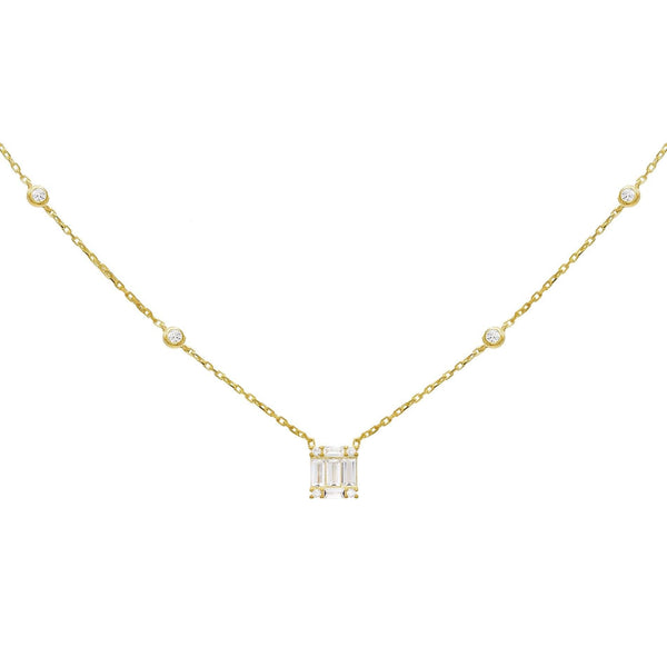 Rose Gold Baguette Solitaire Necklace - Adina's Jewels