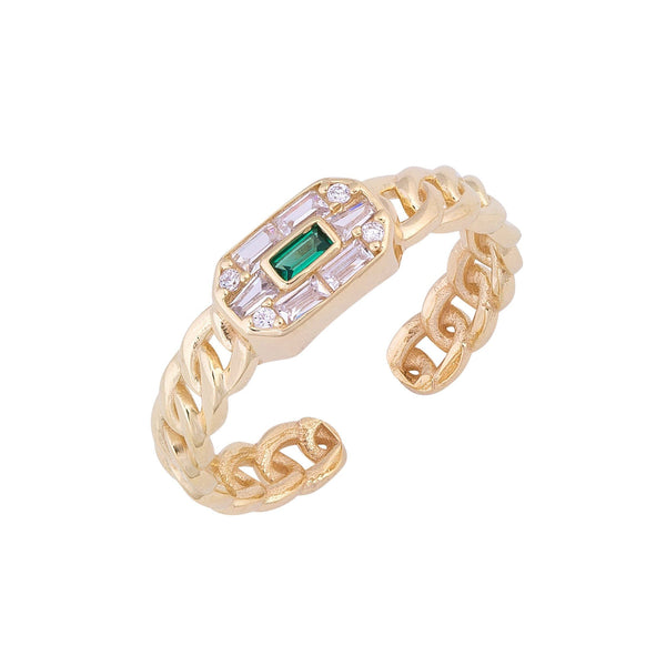 Emerald Green Colorful Baguette Links Ring - Adina's Jewels
