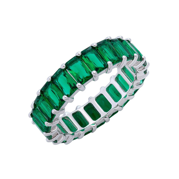 Emerald Green / 9 Baguette Eternity Ring - Adina's Jewels