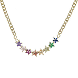 Stars Cuban Chain Choker Multi-Color - Adina's Jewels