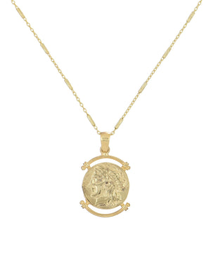 Greek Coin Pendant Gold - Adina's Jewels