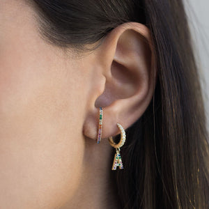 Pave Initial Huggie Earring  - Adina's Jewels