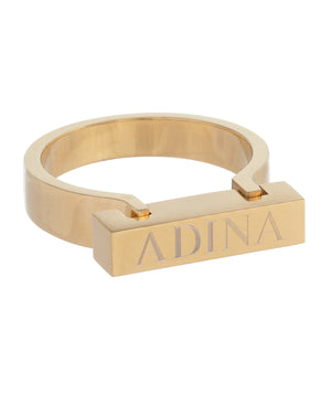 Gold / 6 Block Bar Ring - Adina's Jewels