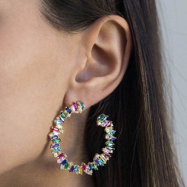 Colored Baguette Hoop Earring - Adina's Jewels