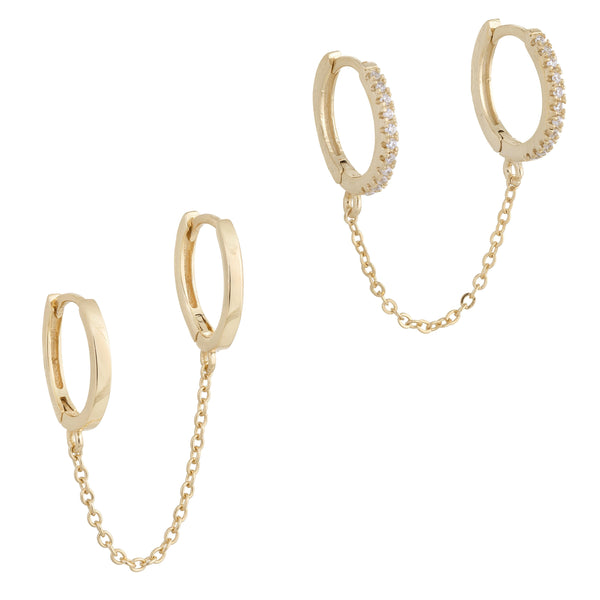 Gold Double Huggie Earring Combo Set - Adina's Jewels