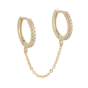 Gold / Single CZ Double Huggie Chain Earring - Adina's Jewels