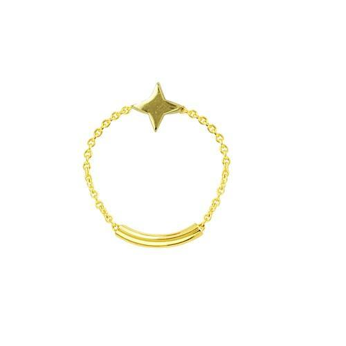 14K Gold / 8 Star Chain Ring 14K - Adina's Jewels