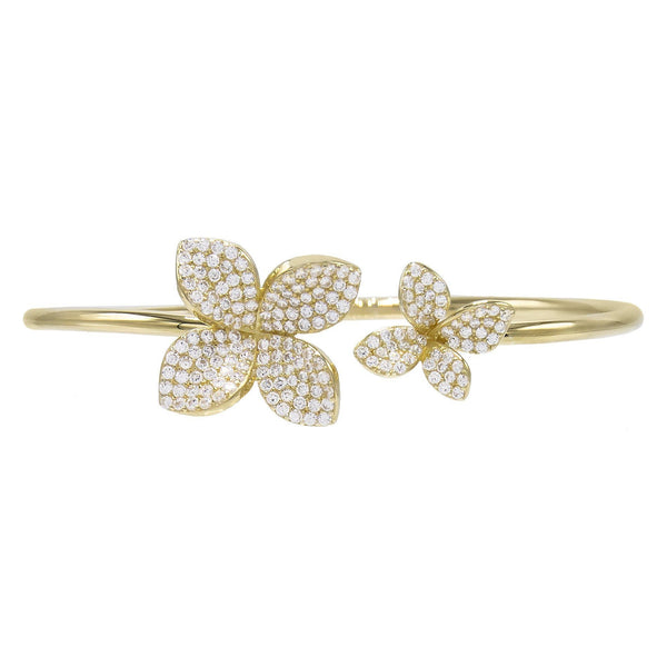 Gold Pave Flower Bangle - Adina's Jewels