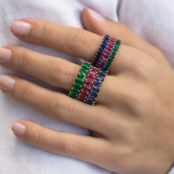 Colorful Emerald Ring Blue / 7 - Adina's Jewels
