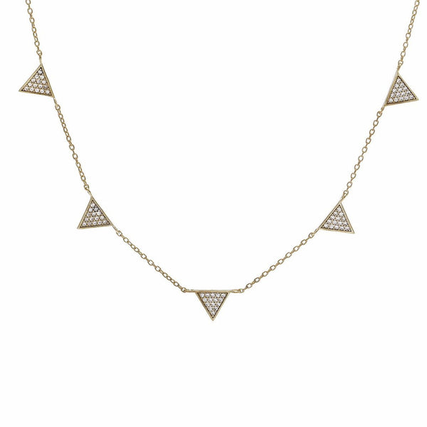 Gold Pave Triangle Drop Necklace - Adina's Jewels