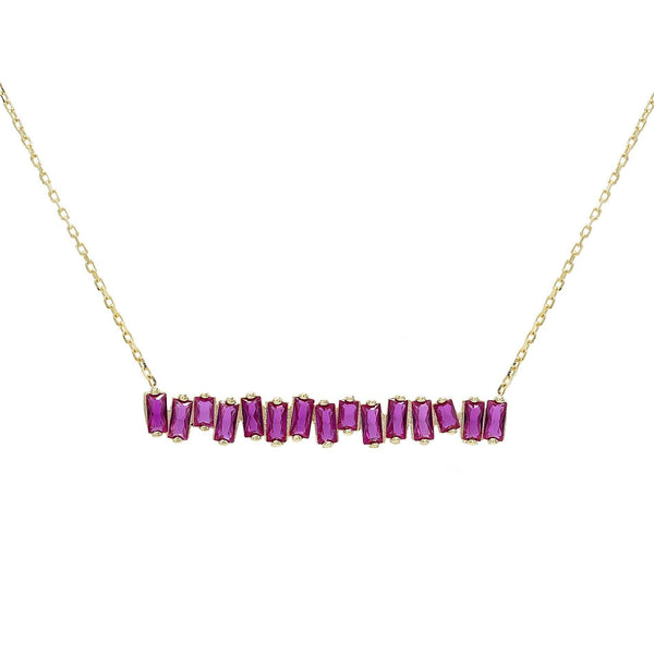 Sapphire Pink Multi-Color Bar Necklace - Adina's Jewels