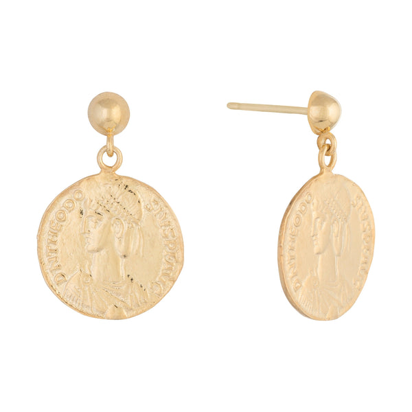 Gold Athen Coin Stud Earring - Adina's Jewels