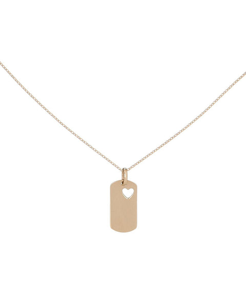14K Gold Heart Dog Tag Necklace 14K - Adina's Jewels