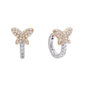 Rose Gold Two-Tone Butterfly Huggie Earring - Adina's Jewels