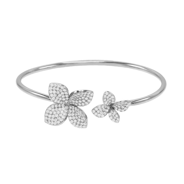 Silver Pave Flower Bangle - Adina's Jewels