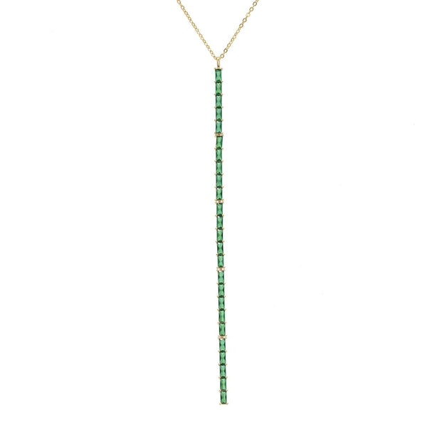 Emerald Green Baguette Lariat - Adina's Jewels