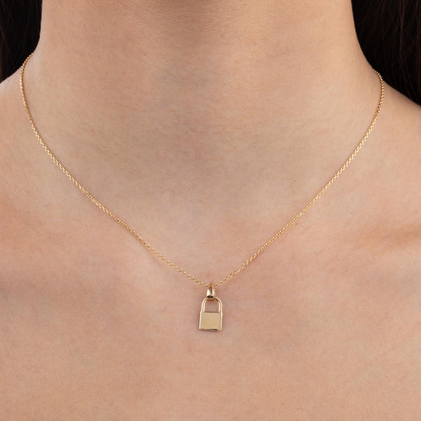 Engraved Solid Lock Necklace 14K  - Adina's Jewels