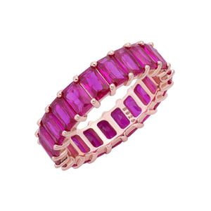 Baguette Eternity Ring Magenta / 7 - Adina's Jewels
