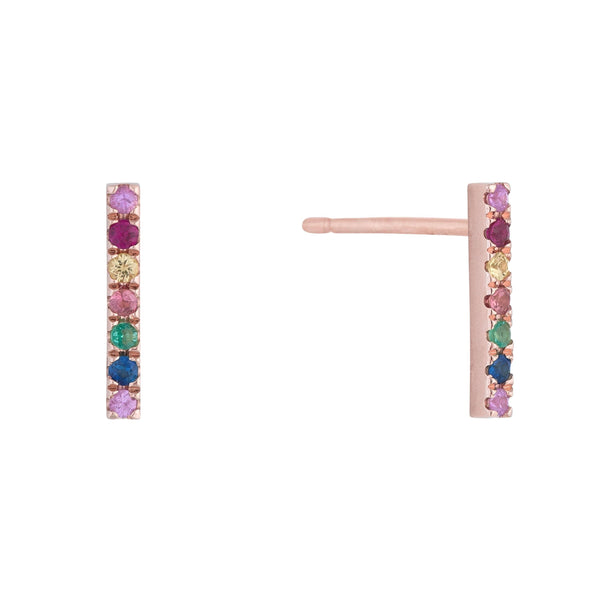 Diamond Rainbow Bar Stud Earring 14K